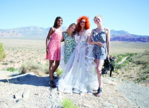 Nimisha Mukerji, director (far left) with the photo crew and central subject of Tempest Storm. Photo: Matilda Temperly